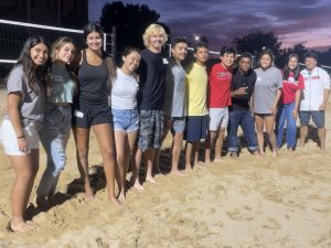 CeO First-Year Scholars playing sand volleyball at the CeO Welcome Event for Strategies For Success 2021